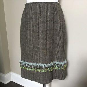 $395 ETCETERA brown Wool tweed fringe midi skirt 8